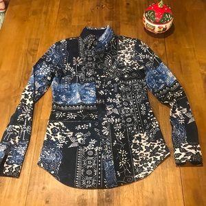 Ralph Lauren Blue Printed Knit Oxford Shirt